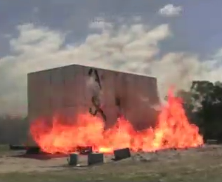 Joost straw, steel frame house tested against bushfire